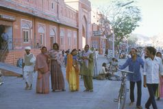 1977. India. Jaipur. Hijra dancers in the pink city. The photo shows, a group of Hijra dancers in the streets of Jaipur.nNotice: A Hijra dancer is a man dressed Stock Image