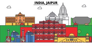 India, Jaipur, Hinduism. City skyline, architecture, buildings, streets, silhouette, landscape, panorama, landmarks. India, Jaipur, Hinduism. City skyline Royalty Free Stock Photo
