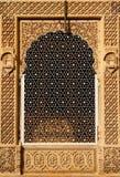 India, Jaisalmer city. Ornate window of beautifolu Haveli in Jaisalmer city in India. Rajasthan royalty free stock photo