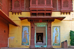 India; Jaisalmer; detail of a palace Stock Image