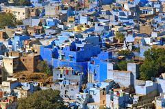 India, Jodhpur: The. Blue city; blue houses were originaly reserved to the brahims; the color of the houses is du to the indigo tinge Stock Photo
