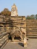 India, Kadzuraho, stone sculpture of elephant Royalty Free Stock Images
