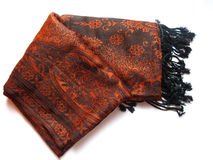 India-Kashmiri shawl. Traditional indian kashmiri shawl  on white Royalty Free Stock Photos