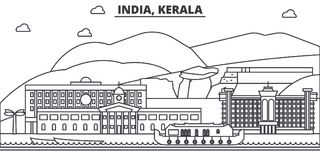 India, Kerala architecture line skyline illustration. Linear vector cityscape with famous landmarks, city sights, design Stock Photography