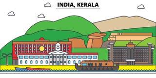 India, Kerala, Hinduism. City skyline, architecture, buildings, streets, silhouette, landscape, panorama, landmarks. India, Kerala, Hinduism. City skyline Stock Photos