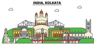 India, Kolkata, Hinduism. City skyline, architecture, buildings, streets, silhouette, landscape, panorama, landmarks. India, Kolkata, Hinduism. City skyline stock illustration