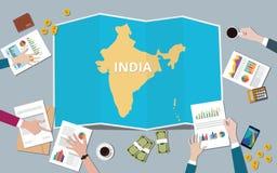 India kraju narodu wzrostowa drużyna dyskutuje z fałd map widokiem od wierzchołka ilustracja wektor