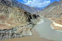 India - Ladakh landscape with Indus river. Ladakh, also called little Tibet (India) - Scenic view of the Himalayan chain with the Indus river Royalty Free Stock Image