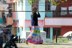 A India lady walk in street Royalty Free Stock Photo