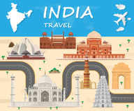 India Landmark Global Travel And Journey Infographic background. Vector Design Template.used for your advertisement, book, banner, template, travel business or Royalty Free Stock Photography