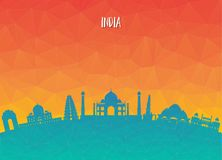 India Landmark Global Travel And Journey paper background. Vecto. R Design Template.used for your advertisement, book, banner, template, travel business or Royalty Free Stock Image