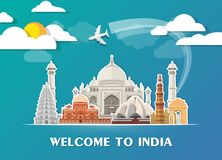India Landmark Global Travel And Journey paper background. Vecto. R Design Template.used for your advertisement, book, banner, template, travel business or Stock Image