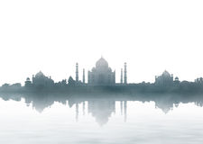 India landmark - Taj Mahal panorama with fog stock photos