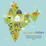 India landmark travel map vector illustration Royalty Free Stock Image