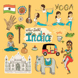 India Landmarks. Collection of hand-drawn India Landmarks with the flag  dancer  yoga poses  snake charmer  tuc tuc   mehndi hand decoration  elephant and Taj Stock Images