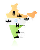 India landmarks on map vector stock illustration
