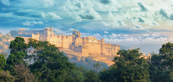 India landmarks - panorama with Amber fort. Jaipur city stock images