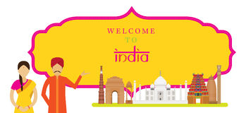 India Landmarks with People in Traditional Clothing, Frame Royalty Free Stock Images