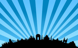 India landmarks skyline vector royalty free illustration