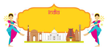 India Landmarks with Traditional Dancer, Frame Stock Images