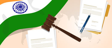 India law constitution legal judgement justice legislation trial concept using flag gavel paper and pen Stock Photography
