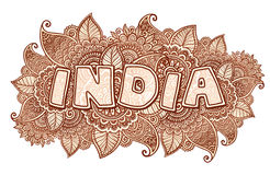 India lettering on henna colors mehndi floral background Stock Photos
