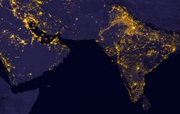 India lights during night as it looks like from space. Elements of this image are furnished by NASA. India and Middle East lights during night as it looks like Royalty Free Stock Photography