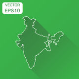 India linear map icon. Business cartography concept outline India pictogram. Vector illustration on green background with long sh vector illustration
