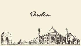 India linii horyzontu wektorowa ilustracja rysujący nakreślenie Obraz Stock