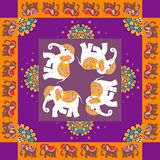 India. Lovely tablecloth or quilt. Ethnic bandana print with flowers and elephants. Royalty Free Stock Photo