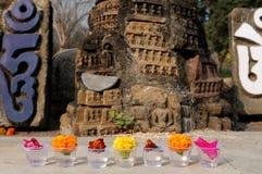 India, Mahabodhy Temple. Gifts for Buddha's god in Mahabodhy Buddhist temple in Bodhgaya, Bihar, India Royalty Free Stock Photography