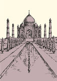 india mahal taj Vektorn skissar royaltyfri illustrationer