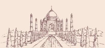 india mahal taj Vektorn skissar vektor illustrationer