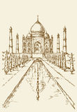 india mahal taj Vektorn skissar stock illustrationer