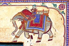 India, Mandawa: colourful frescoes royalty free illustration