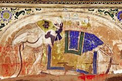 India, Mandawa: colourful frescoes royalty free stock photo