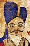 India, Mandawa: colourful frescoes  on the walls Royalty Free Stock Photo