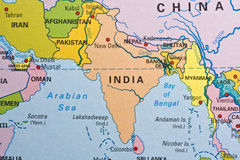 India on a map Stock Images