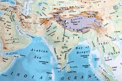 India in Map. Indian is pin pointed in a map stock photos
