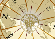 India map. With compass in sepia background Royalty Free Stock Photo