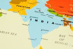 India on map. Close up of India on map royalty free stock photo