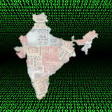 India map on binary code Stock Image