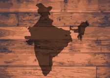 India Map Brand. India outline map brand on wooden board Stock Photo