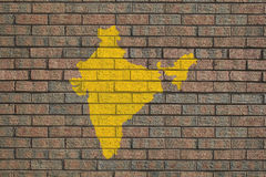 India map on brick wall Royalty Free Stock Photos