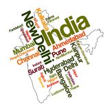 India map and cities. India map and words cloud with larger cities royalty free illustration