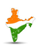 An India map coverd with Indian Flag. Stock Photo