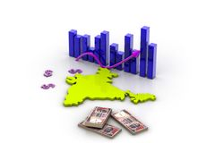 India map and currency Royalty Free Stock Image