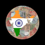 India map currency globe Royalty Free Stock Photo