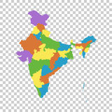India map with federal states. Flat vector. Illustration Stock Photo