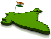 India - Map and Flag Royalty Free Stock Photography